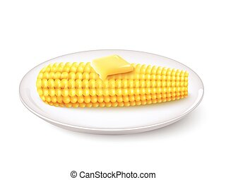 Realistic Corn Cob - Realistic corn cob with butter on white...