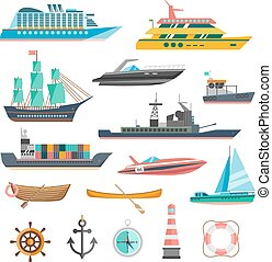 Ships Icons Set - Ships yachts and boats icons set with...