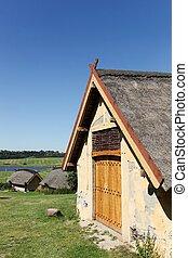 Viking houses in Hobro, Denmark