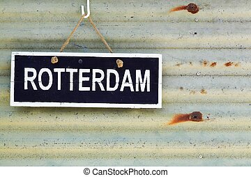 Rotterdam sign on a wall