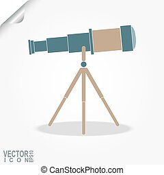 Telescope icon, space exploration, search ideas, finding a...