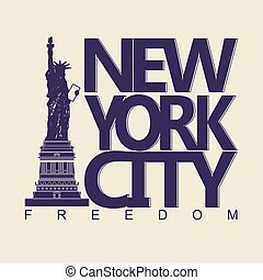 New York t-shirt - New York City Typography Graphics, Statue...