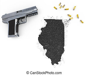 Gunpowder forming the shape of Illinois .(series) -...