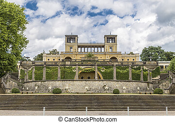 Orangery Palace with two towers in the park Sanssouci...