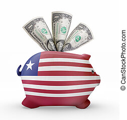 Piggy bank with the flag of Liberia .(series)
