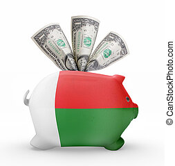Piggy bank with the flag of Madagascar .(series)