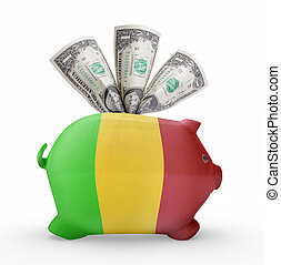 Piggy bank with the flag of Mali .(series)