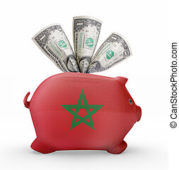 Piggy bank with the flag of Morocco .(series)