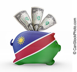 Piggy bank with the flag of Namibia .(series)