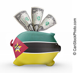 Piggy bank with the flag of Mozambique .(series)