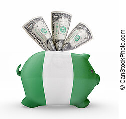 Piggy bank with the flag of Nigeria .(series)