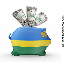 Piggy bank with the flag of Rwanda .(series)