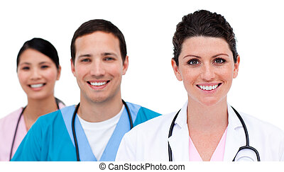 Close-up of medicam team against a white background