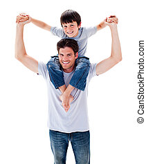 Animated father giving his son piggyback ride against a...