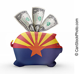 Piggy bank with the flag of Arizona .(series) - Side view of...
