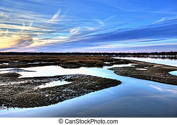 oyster beds and harbor hdr - hdr image of oyster beds and...