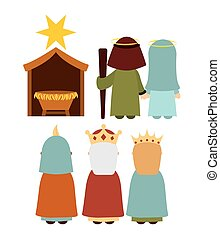 Christmas manger characters design, vector illustration...