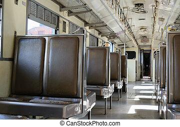 Cabin of Thai train - Cabin of a Public Thai Train Railway...