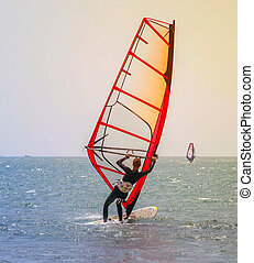 Extreme Sports Windsurfing women in the summer