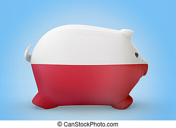 Piggy bank with the flag of Poland .(series)