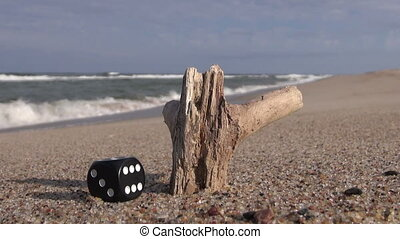 Lucky black dice and piece of wood on the sand by the sea