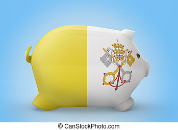 Piggy bank with the flag of Vatican City series - Side view...