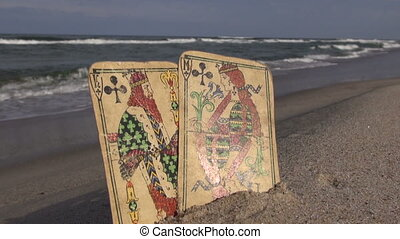 King and queen antique cards - Seascape with antique queen...