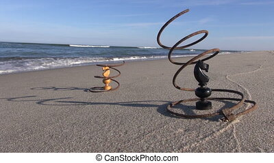 metal springs with two chess knight - Seascape with two...