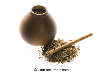 argentinian calabash with yerba mate isolated on white...