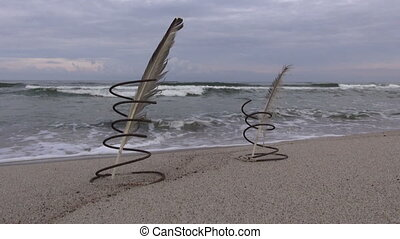 metal springs with feathers - Seascape with two metal...