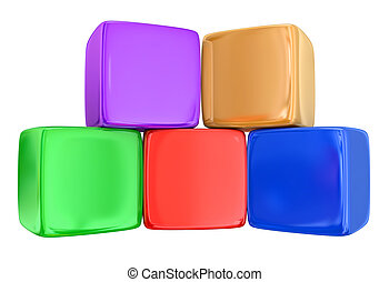 Five 5 Boxes Cubes Blocks Toys Stacked - Five colorful...
