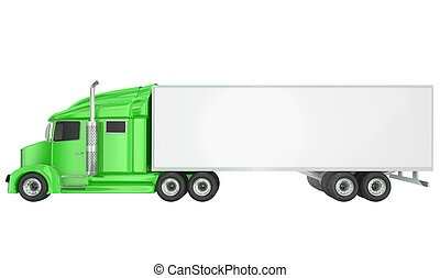 Green 18 Wheeler Class 8 Truck Blank Copy Space Trailer -...