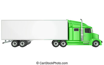 Green 18 Wheeler Class 8 Truck Blank Copy Space Trailer