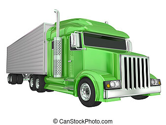 Green Semi Truck 18 Wheeler Big Rig Hauler - Green semi...