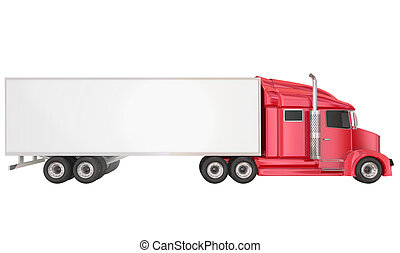 Red 18 Wheeler Class 8 Truck Blank Copy Space Trailer - Red...