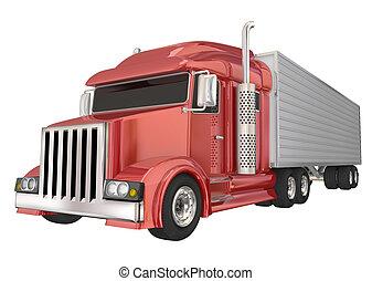 Red Semi Truck 18 Wheeler Big Rig Hauler