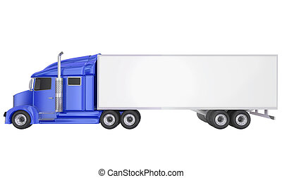 Blue 18 Wheeler Class 8 Truck Blank Copy Space Trailer