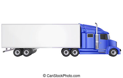 Blue 18 Wheeler Class 8 Truck Blank Copy Space Trailer -...