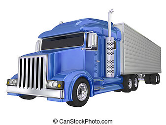 Blue Semi Truck 18 Wheeler Big Rig Hauler - Blue semi truck...