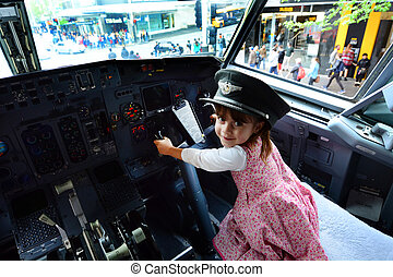 Little child fly a Boeing 737 - AUCKLAND - OCT 18...