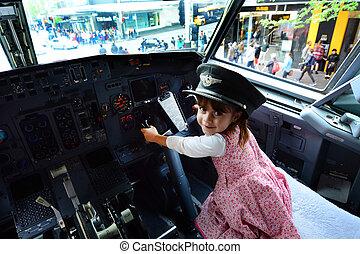Mały, dziecko, mucha, à, Boeing, 737,