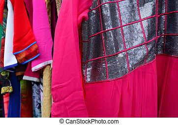Indian women dress for sale in the market