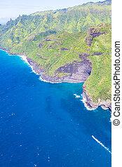 aerial view at kauai - aerial view at na pali coast at kauai...