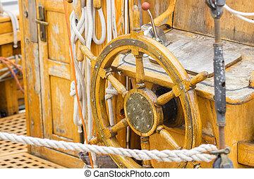 viejo, Navegación, Vela, velero, de madera, Timón, puerto