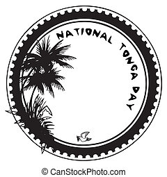 National Tonga Day - Stamp imprint to the national holiday -...