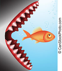 GoldFish Breakfast (Vector Image) - The shark is about to...