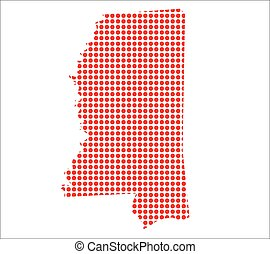 Red Dot Map of Mississippi