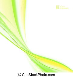 Shining green flow - Glowing dynamic green wave on white...