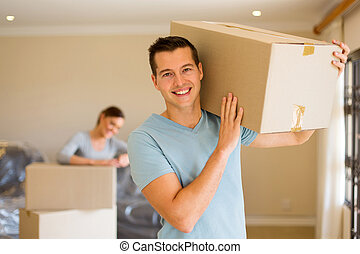 young couple moving out - lovely young couple moving out