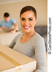 young woman moving in with her boyfriend